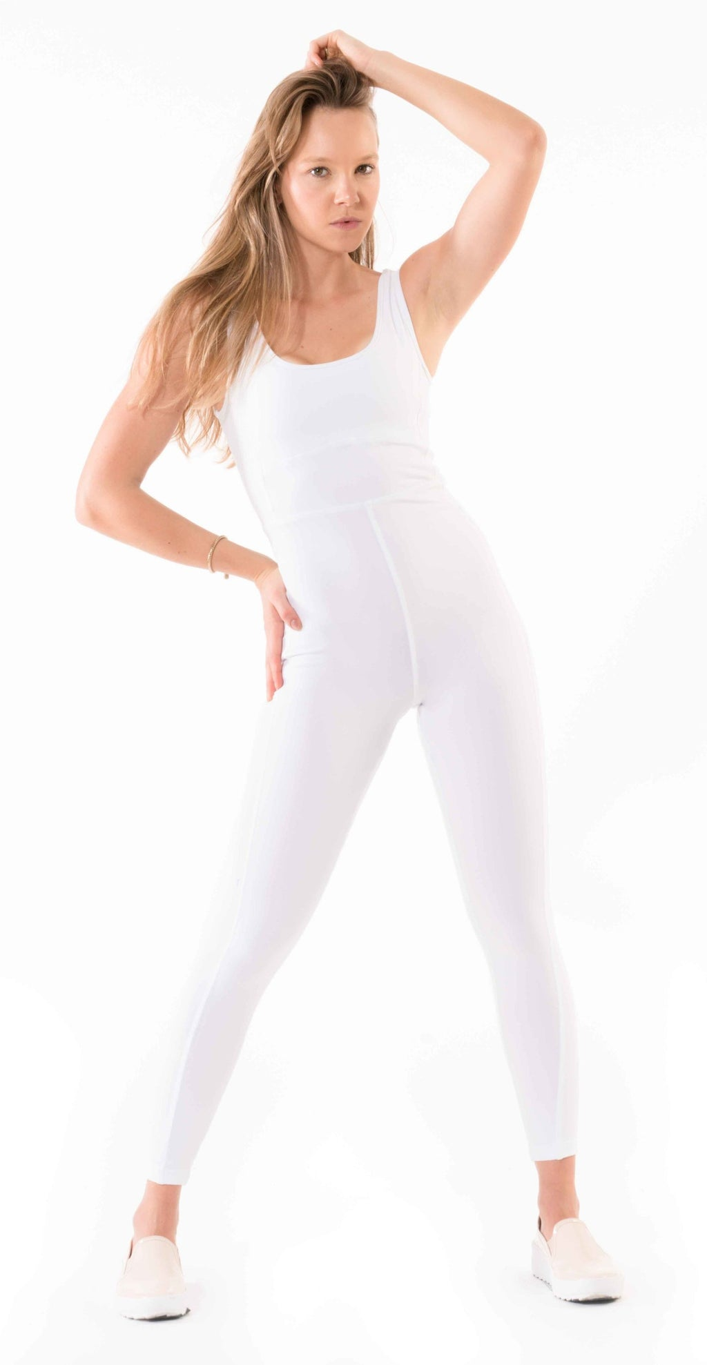 Shama Jade Invisible Jumpsuit: White - Shama Jade | Women's Luxury Yoga Jumpsuits and Activewear