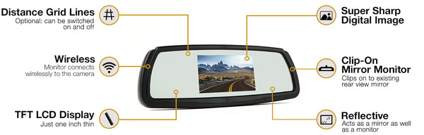 Wireless Backup Camera System with Mirror Monitor | Auto Truck Depot
