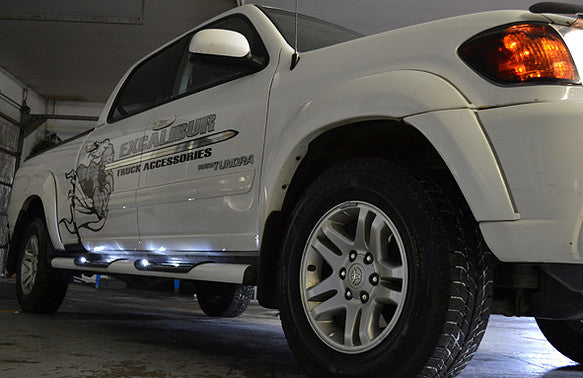 Excalibur White Running Boards | Auto Truck Depot