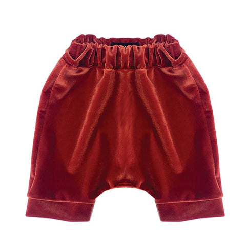 Wee Monster - Orange Velvet Harem Shorts