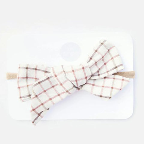 Wild Juniper - Baby Bow Headband - Cream Plaid Bow