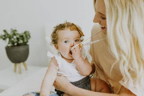 Chewable Charm - The Landon - Rose Quartz Teething Necklace