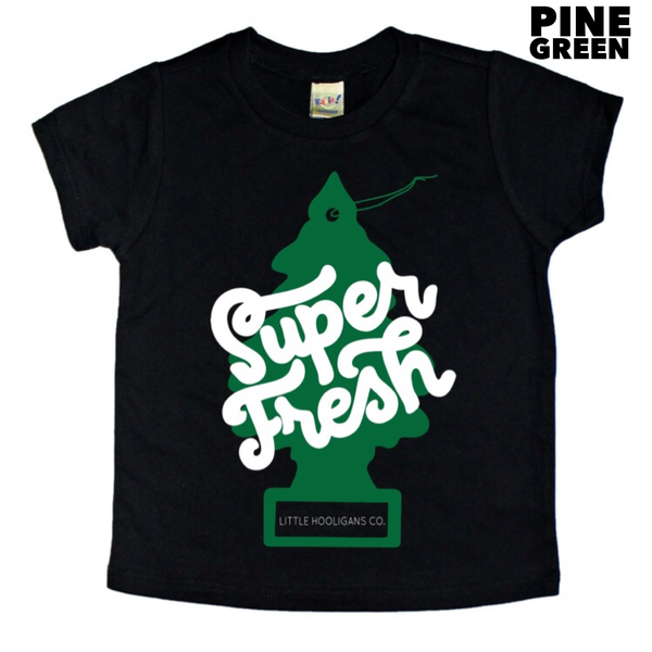 Little Hooligans Co - Black w/Pine Green - Super Fresh Kids Tee