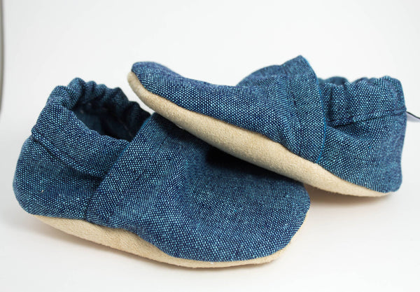 Yeti Moccs - Faded Teal Linen Baby Moccs