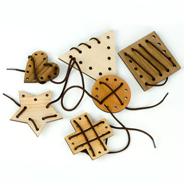 Little Sapling Toys - Geometric Lacing Toy - 6 Piece