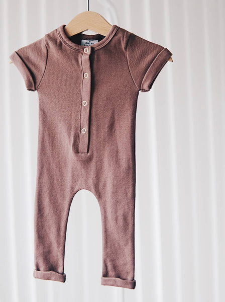 Orcas Lucille - Ribbed Henley Romper - Chutney