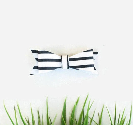 Wild Juniper - Leather Hair Bow Clip - Black and White Stripe