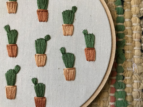 Mountains of Thread - Potted Prickly Pear Cactus Embroidery Art