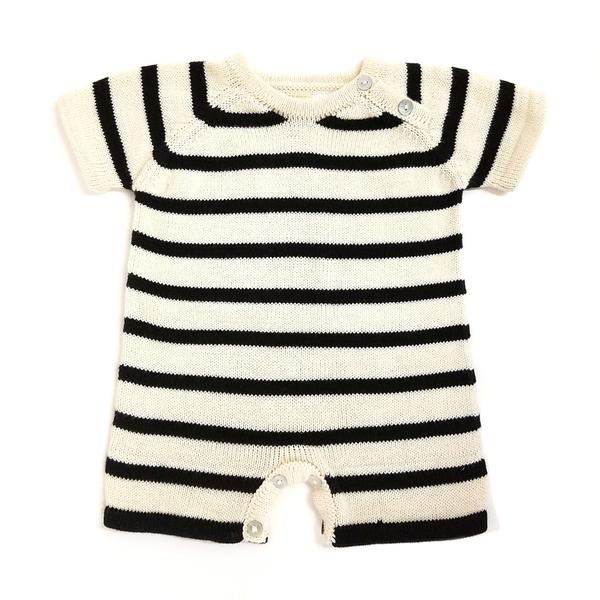 Estella - Short Sleeve Organic Baby Rompers - Stripes (Black)