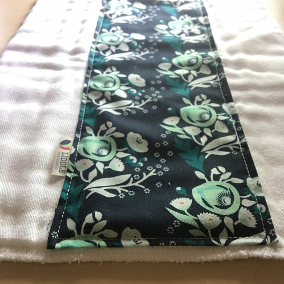 Liddle Handmade - Navy Flowers Burp Cloth Organic Cotton