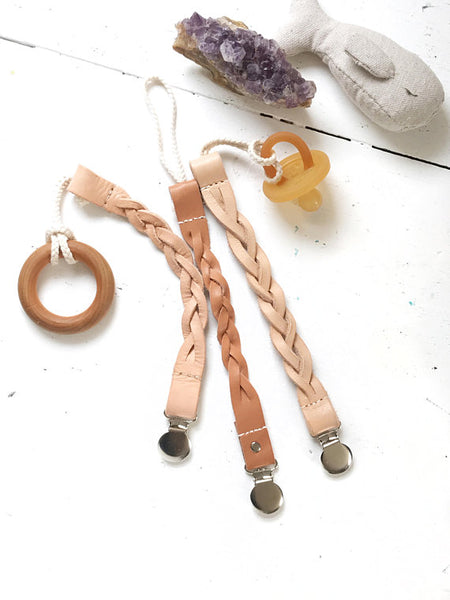 The Bird & Elephant - Boho Leather Paci Clip