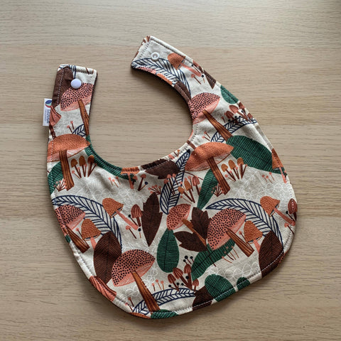 Liddle Handmade - Mushrooms Baby Bib Organic Cotton