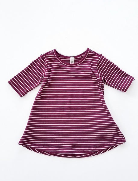 Burgundy & White Stripe - Infant Dress