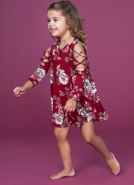 Burgundy Lattice Shoulder Dress - Toddler