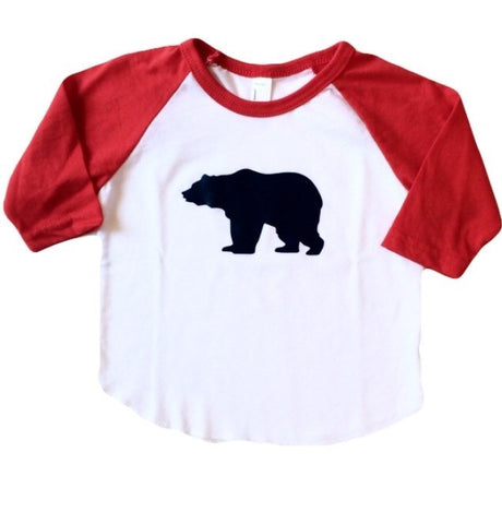 Bear Necessity Raglan in Red