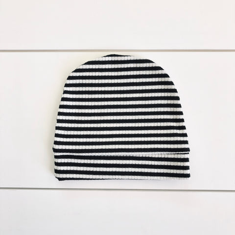 Slouchy Beanie - Green/White Stripe