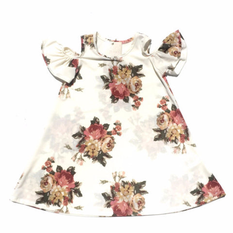 Ivory Floral Cold Shoulder - Tot Dress