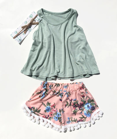 Infant Outfit - Sage Top + Peach Pom Pom Shorts