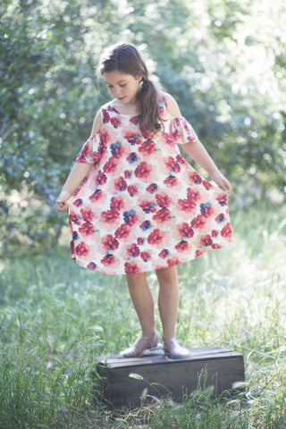 Rosy Floral Cold Shoulder - Kids Dress