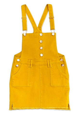 Kids - Denim Skirt Overalls - Mustard