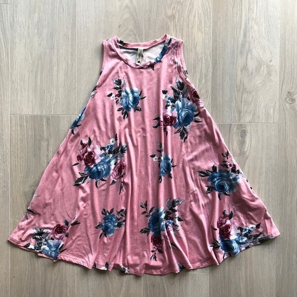 Mauve Floral Dress - Kids