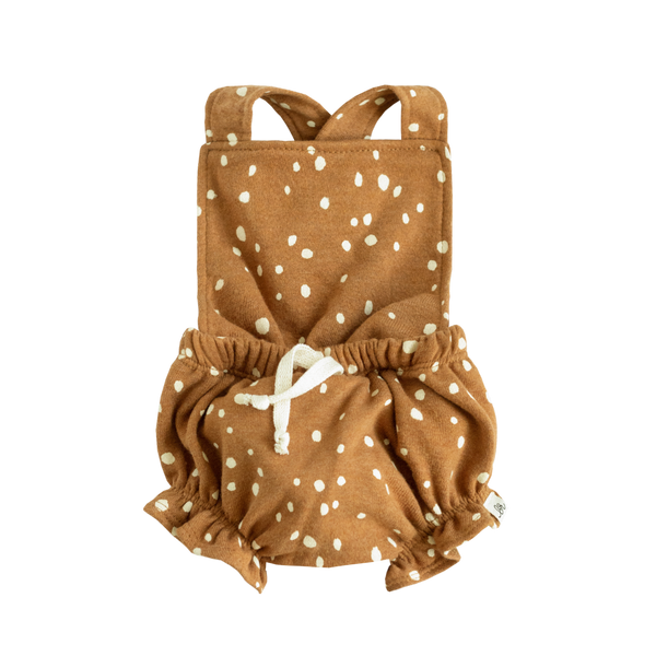 Infant - Ruffle Shortie Romper - Rust Dot
