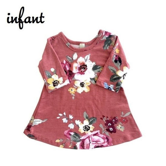 Rust Floral - Infant Dress