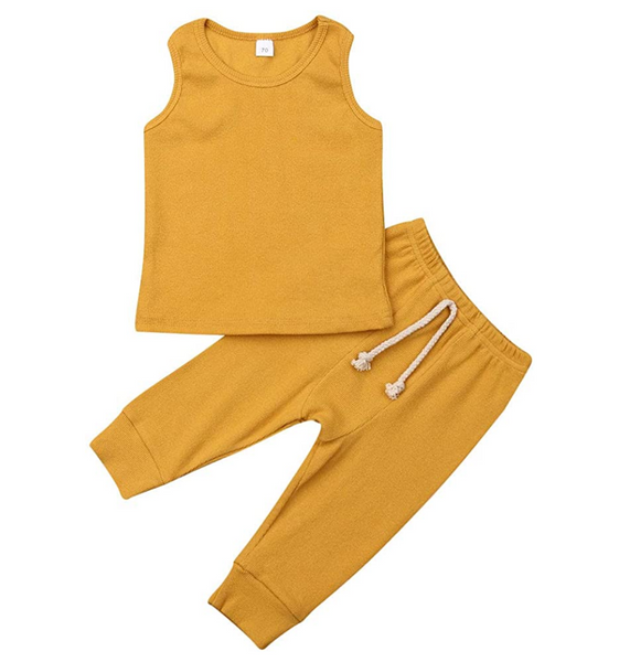 Infant & Toddler - Ribbed Tanktop & Harem Pants Set - Mustard