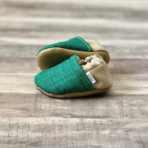 Trendy Baby Mocc Shop - Green Plaid And Tan Low Tops
