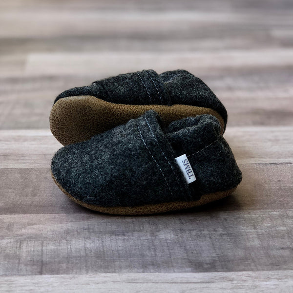 Trendy Baby Mocc Shop - Charcoal Felt Loafers