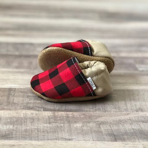 Trendy Baby Mocc Shop - Buffalo Plaid And Tan Low Tops