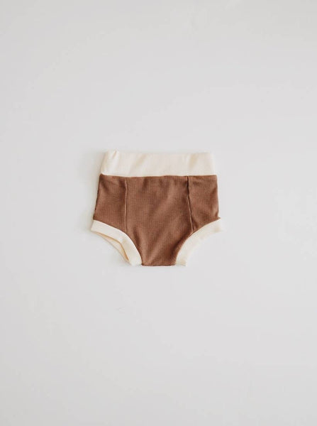 Infant - Ribbed Bloomer - Mocha & Cream