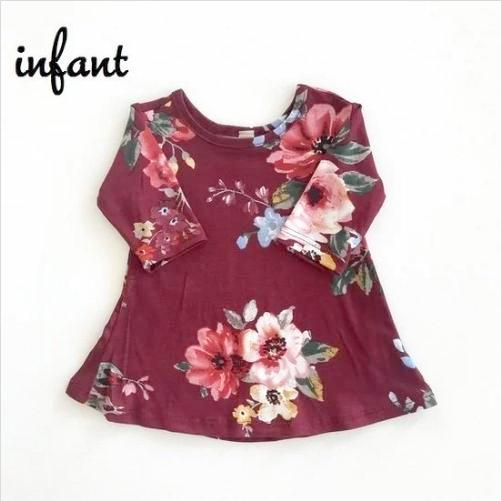 Burgundy Floral - Women's Top - Preorder