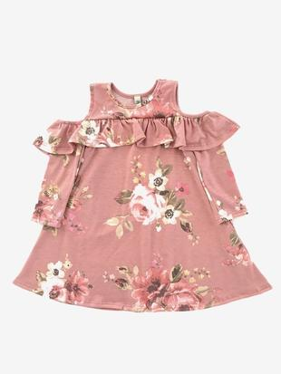 Faded Floral Cold Shoulder Dress - Toddler - Grey