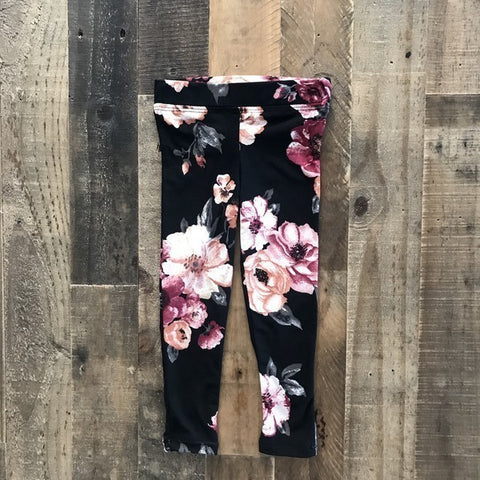 Black Floral - Tot Leggings