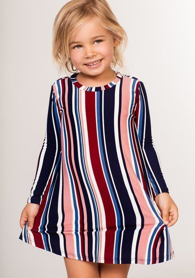 Multicolor Striped - Tot Dress - Navy Rose