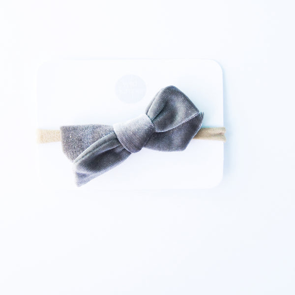 Wild Juniper - Baby Bow Headband - Gray Velvet Bow