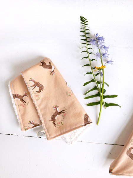 The Bird & Elephant - Burp Cloth, Woodland Deer, Cotton Burp Rag