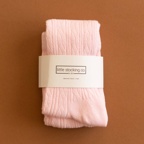 Little Stocking Co. - Light Pink Cable Knit Tights