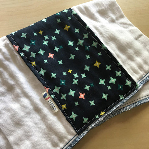 Liddle Handmade - Navy Stars Burp Cloth