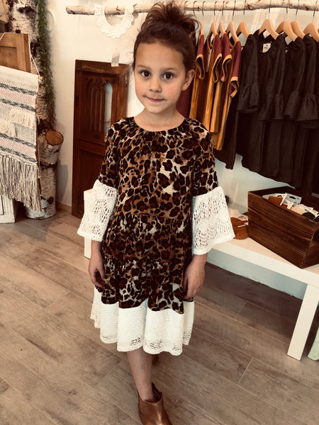 Lace Bell Sleeve, Leopard Print - Kids Dress