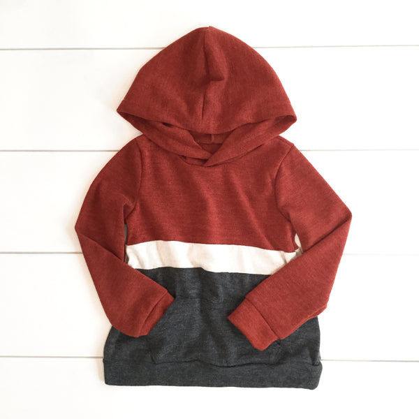Toddler & Kids - Rust Colorblock Hoodie Sweatshirt