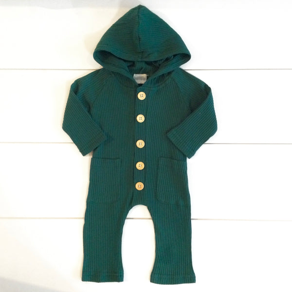Infant - Ribbed Hooded Romper - Evergreen