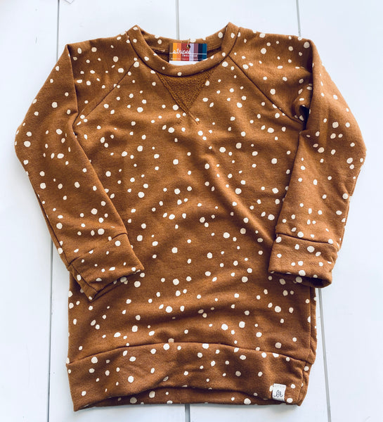 Toddler - Crew Neck Sweatshirt - Rust Dot