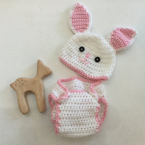 The Crafty Nana - Bunny Hat & Diaper Cover Set