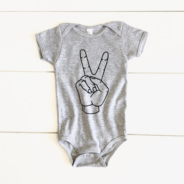 Infant - Grey Bodysuit - Peace