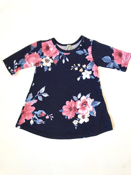 Navy Floral - Infant Dress