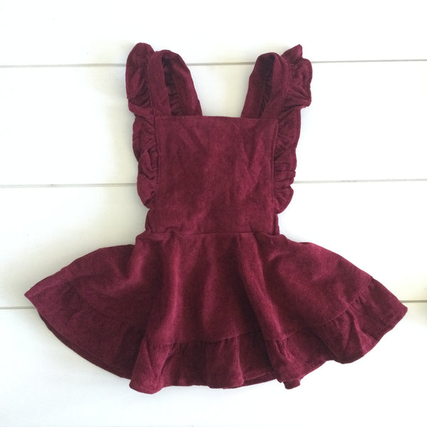 Infant & Toddler - Corduroy Pinafore - Cranberry