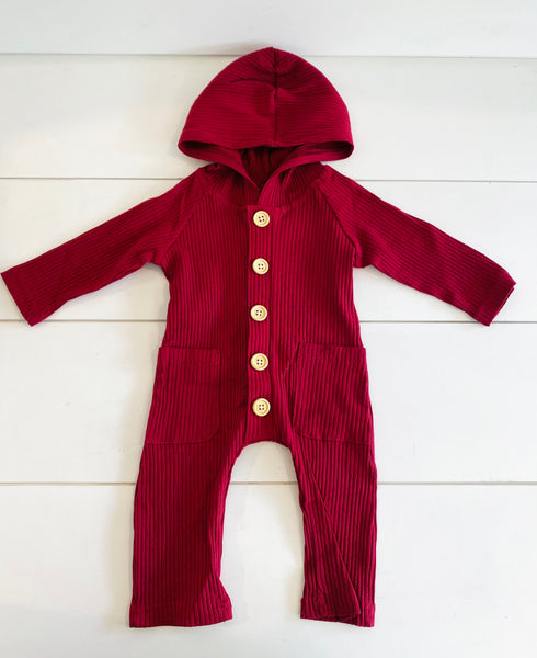 Infant - Ribbed Hooded Romper - Cranberry