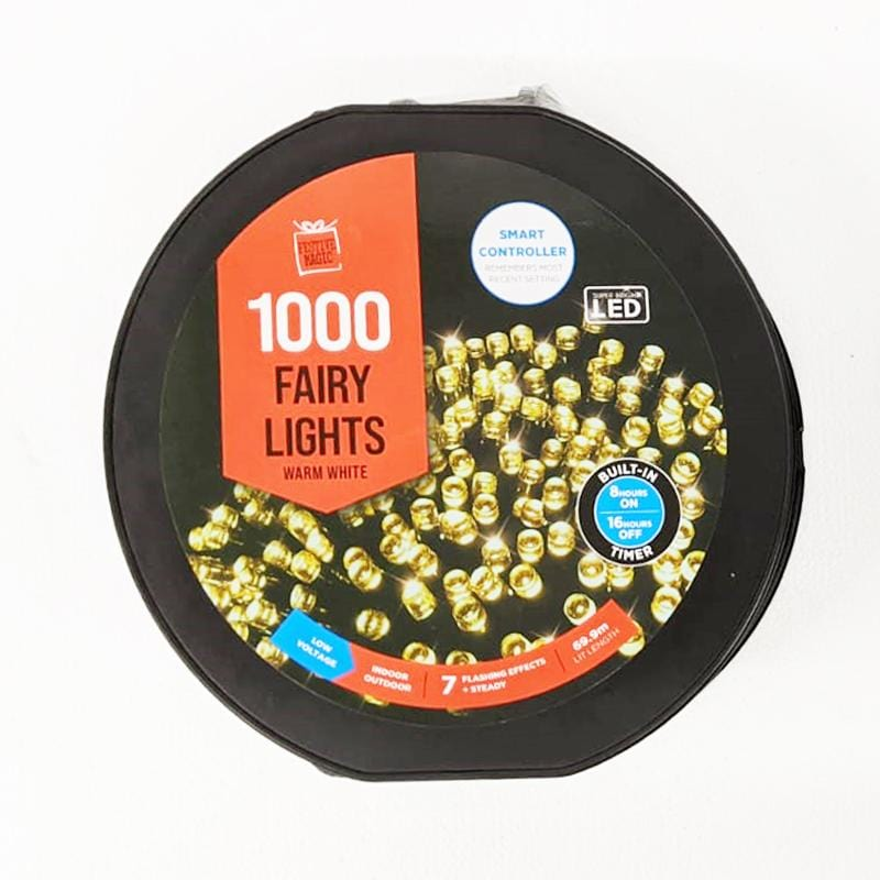LED FLASHING LIGHT REEL W/TIMER 1000pc WARM WHITE